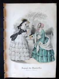 Journal des Demoiselles C1850 Antique Hand Col Fashion Print 109